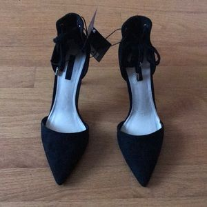 Suede Black Pointed Toe High Heels